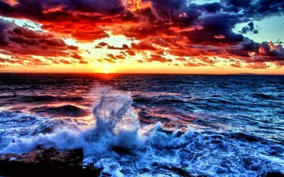 ocean, waves, закат, природа, peaceful, пляж, море, sunlight, animated,