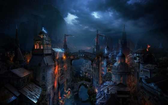 fantasy, деревня, горах, фоны,