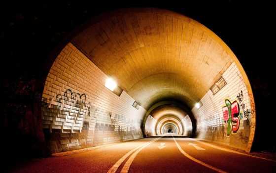 graffiti, стенах, туннель,