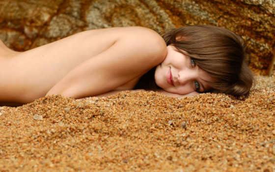 песок, тело, улыбка, обнаженное,