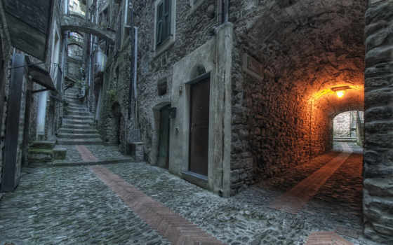 улица, арка, дверь, широкоэкранные, окна, lantern, улочка, окно,