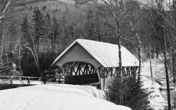 мост, covered, зимние, new, страница, park, природа, красивая,