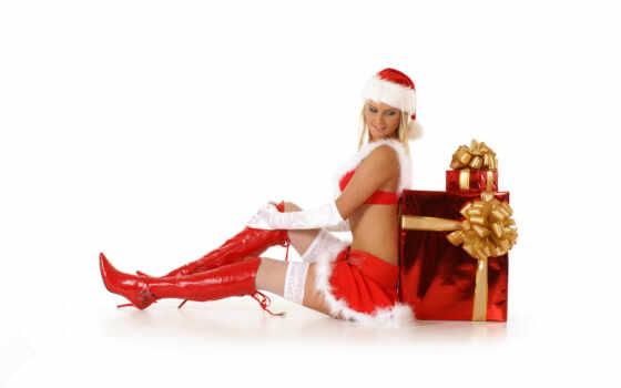christmas, девушка, палуба, санта, clic, merry, шляпа