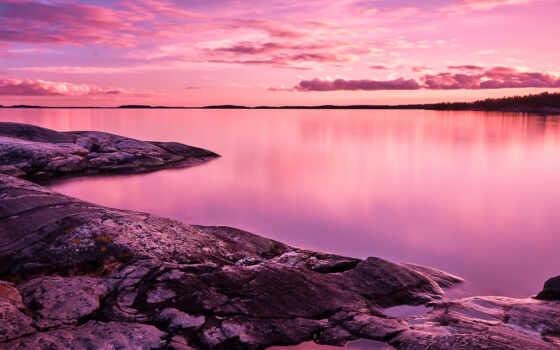 розовый, природа, небо, фон, ноутбук