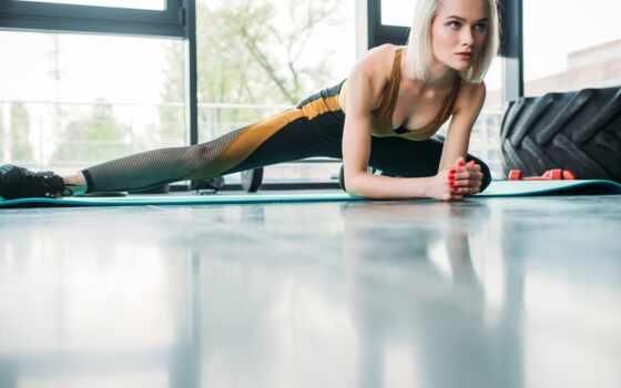 растянувшийся, warm, фитнес, gym, royalty, молодой, athletic, mat, foto, женщина