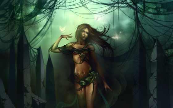 листья, растения, бабочки, чешуя, дриада, руины, лес, камни, картинка, картинку,