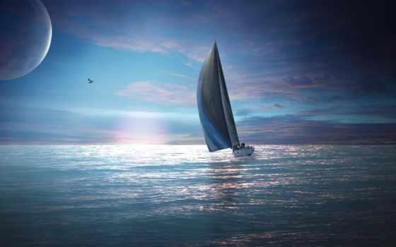 море, яхта, закат