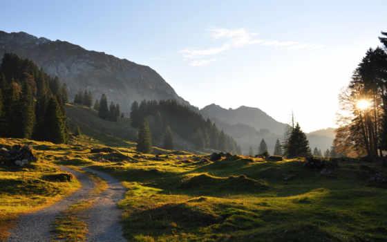 природа, вечер, горы, sun, summer, трек, камни,