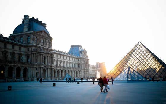 louvre, франция, париж, french, museum, пирамида, вечер,