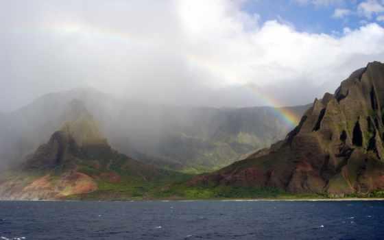 горах, горы, дождь, reki, после, туман, присыпанные, снегом, горные, водопады,
