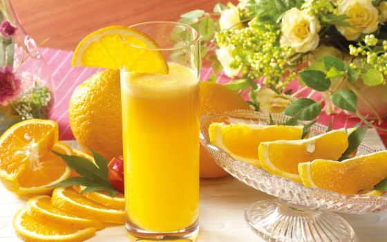 оранжевый, juice, апельсины, цитрус, утро, плывут, картинка,