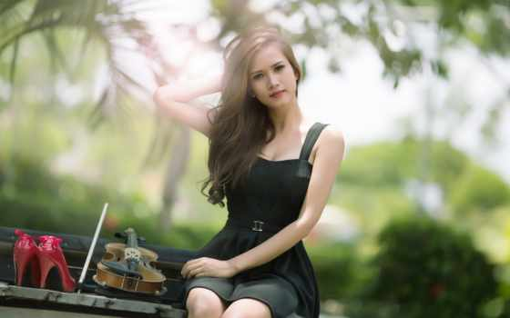 девушка, скрипка, музыка, скамейка,
