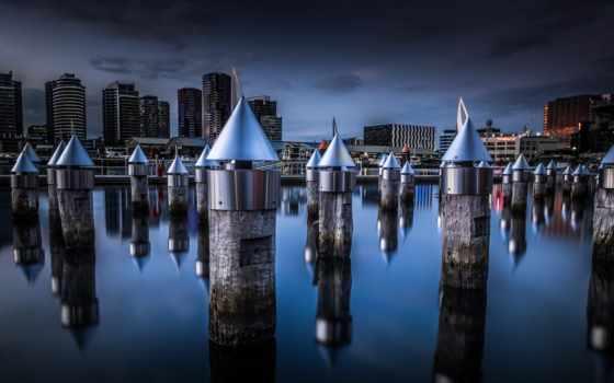 melbourne, desktop, австралия, город, victoria, ночь, docklands,