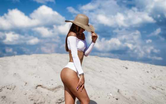 sombrero, para, motta, mujeres, baño, foto, playa,