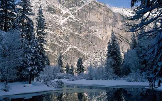 ,winter, река, лес, горы,
