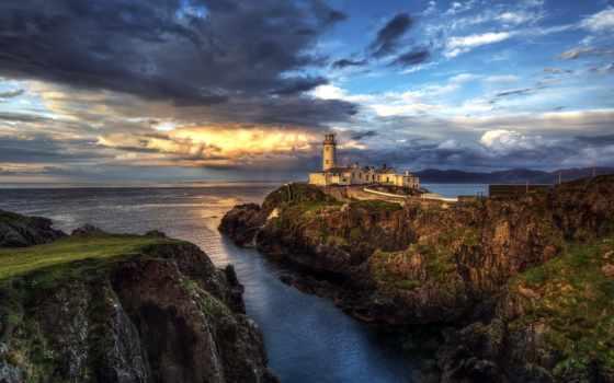 скалы, маяк, побережье
