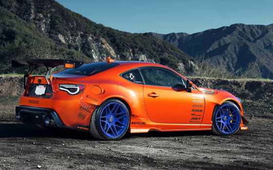 стиль, оранжевый, widebody, тюнинг, toyota, scion, spoilers, wheels, rims, гора,