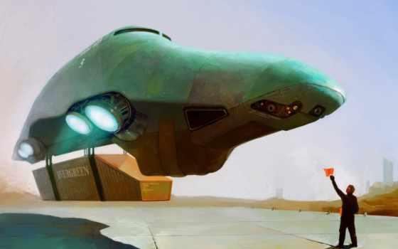 spaceship, sci, посадка, картинка, art, keywords, concept,