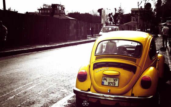 volkswagen, жук, yellow