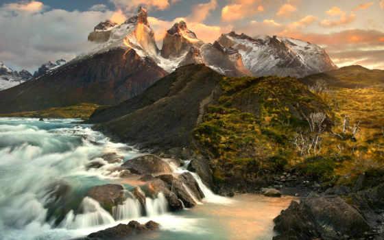 , берег, горы, волны, скалы