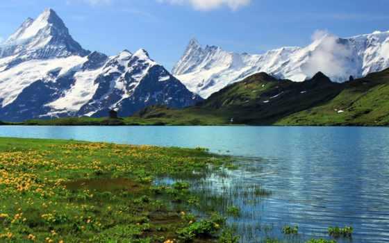 швейцария, swiss, день, озеро, за, горное, гор, заснеженных, берн,