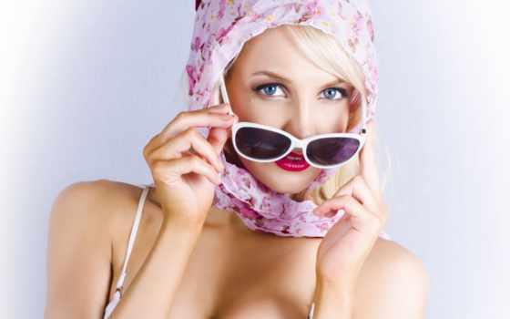 девушка, очки, blonde, лицо, очках, взгляд, солнечных,