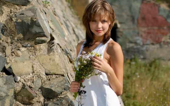 сероглазая, cvety, девушка, полевые, summer, рисунки, gal, природа,