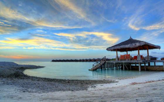 maldives, море, пейзажи -, небо, clouds, закат, landscape,