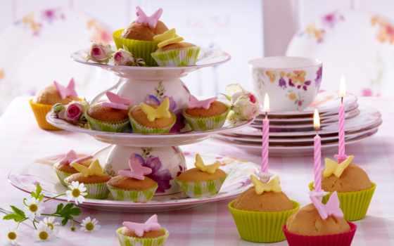 десерт, cvety, торт, кексы, сладкое, еда, розы, мороженое, картинка,