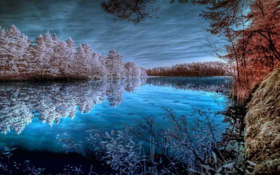 природа, вода, синий, отражение, небо, зимний, холодный, дерево,