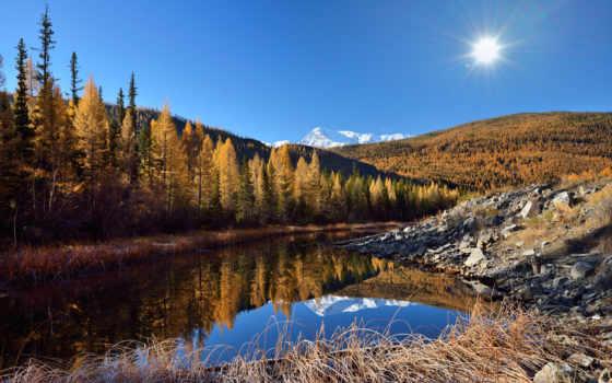 отражение, утро, река, ed, доброе,