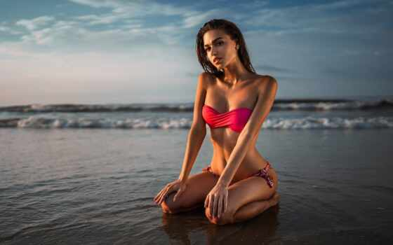 девушка, море, красивый, knee, tanned, гифка, фото, женщина, house