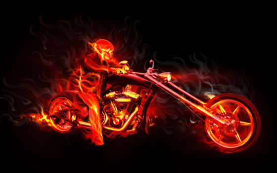 flames, мотоциклист
