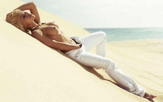 песок, девушка, пляж