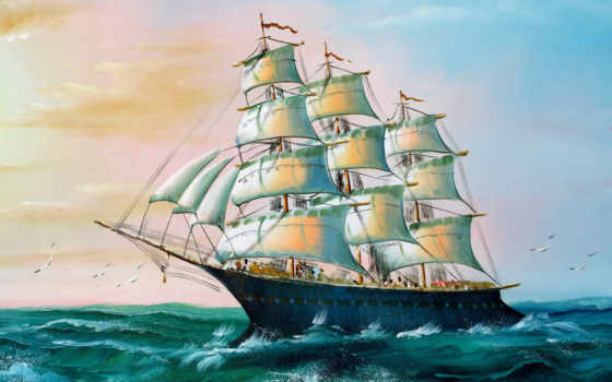 корабль, рисунок, море
