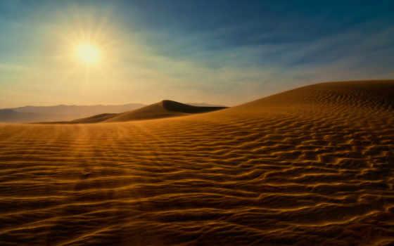 desierto, сол, del, dunas,