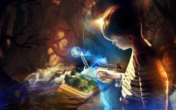 ребенок, сказ, книга, fantasy, воображений, девушка, small, сказки, ребенка, boy,