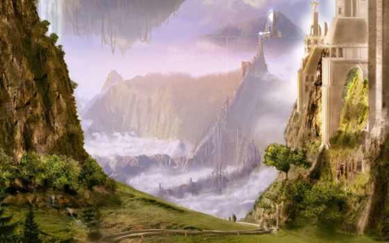 fantasy, пейзажи -, замки, рисунок, фантазий,