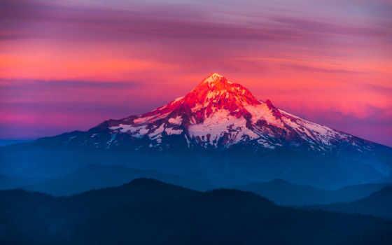 закат, горы, природа, небо, гора, oregon, лес, landscape, снег,