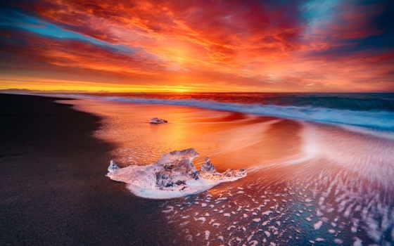 onda, obook, закат, пляж, отзывы, iceland, лед, планеты, красивые,