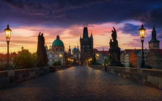 вечер, charles, прага, мост, art, castle, canvas, buildings, огни,