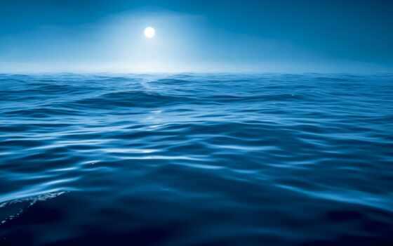 ocean, луна, water, горизонт, море