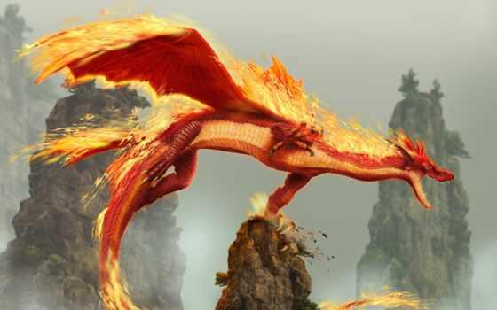 дракон, огонь, злость, blade, rock, существо, драконы, скайрим, который