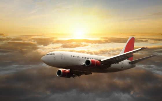самолёт, небо, солнце
