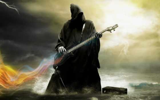 смерть, гитара, скелеты