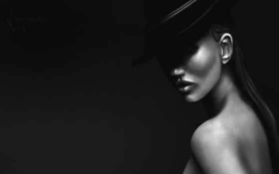девушка, шляпе, черной