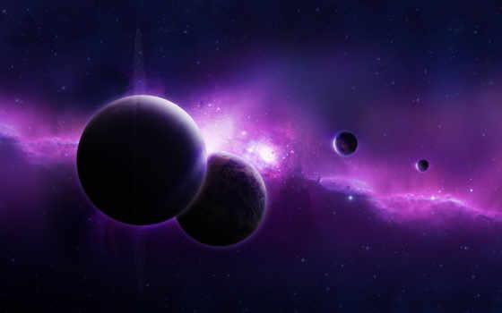 фиолетовая, universe, nebula, планеты,