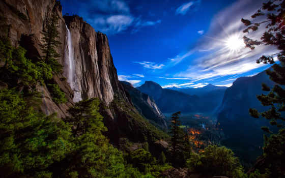 yosemite, park, national, долина, закат, capitan, свет,