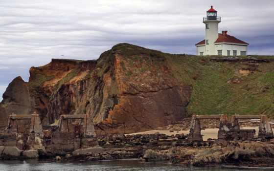 oregon, побережье, lighthouse, cape, arago, state, usa,
