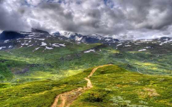oblaka, горы, дорога, природа, небо, долина, страница,